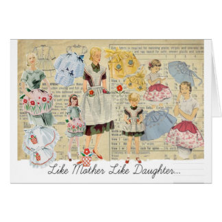 Mother Daughter Vintage Aprons Greeting Cards