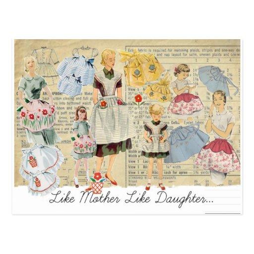 Mother Daughter Vintage Aprons Postcard
