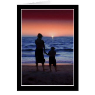 Mother & Daughter Walk on the Beach Greeting Card