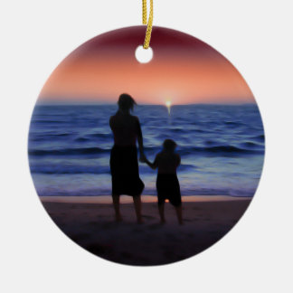 Mother & Daughter Walk on the Beach (Mother's Day) Double-Sided Ceramic Round Christmas Ornament