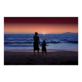 Mother & Daughter Walk on the Beach (Mother's Day) Poster