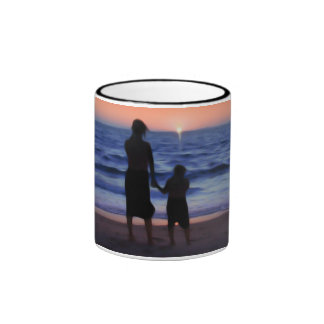 Mother & Daughter Walk on the Beach (Mother's Day) Ringer Coffee Mug