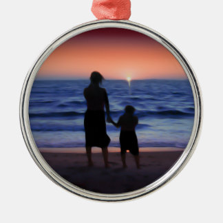 Mother & Daughter Walk on the Beach (Mother's Day) Round Metal Christmas Ornament