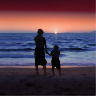 Mother & Daughter Walk on the Beach (Mother's Day) Standing Photo Sculpture