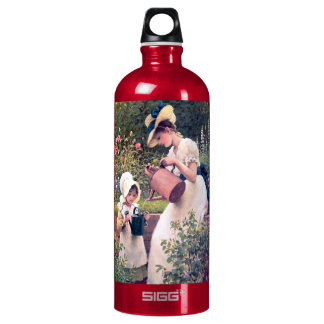 Mother Daughter Watering flowers painting Aluminum Water Bottle