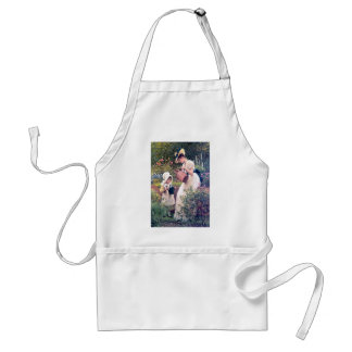 Mother Daughter Watering flowers painting Apron