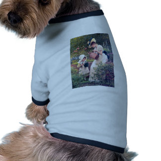 Mother Daughter Watering flowers painting Doggie T-shirt