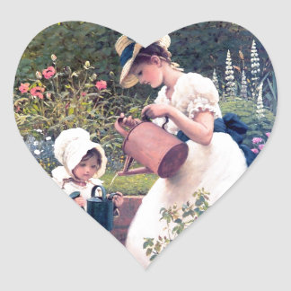 Mother Daughter Watering flowers painting Heart Sticker