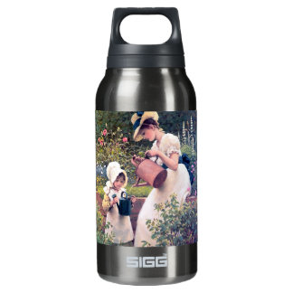 Mother Daughter Watering flowers painting Insulated Water Bottle