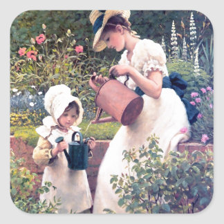 Mother Daughter Watering flowers painting Square Sticker