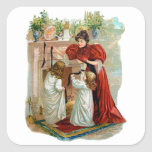 Mother & Daughters on the Night Before Christmas Square Sticker