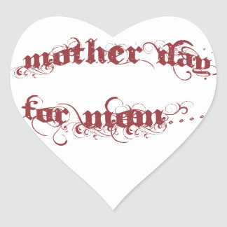 Mother Day For Mom Heart Sticker