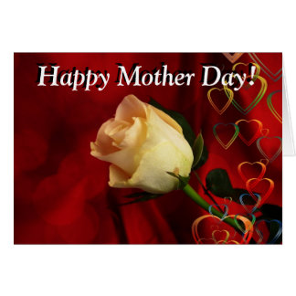 Mother day greeting, white rose on red background card
