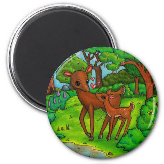 Mother deer and baby Fawn Magnet