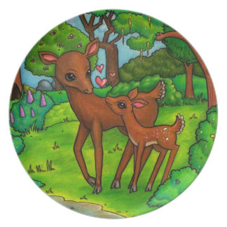 Mother deer and baby Fawn Plate