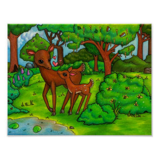 Mother deer and baby Fawn Poster