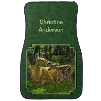 Mother Deer and Fawn Forest Green Car Floor Mat