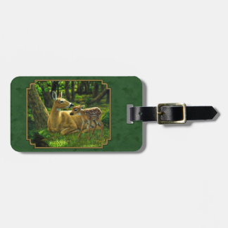 Mother Deer and Fawn Forest Green Luggage Tag