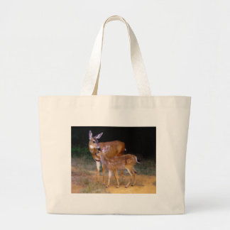 Mother Deer with Fawn Large Tote Bag