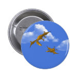 Mother Dinosaur giving flying lessons Pinback Button