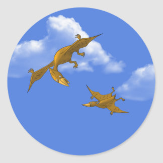 Mother Dinosaur giving flying lessons Classic Round Sticker