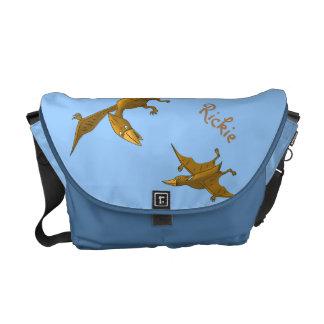 Mother Dinosaur giving flying lessons Messenger Bag