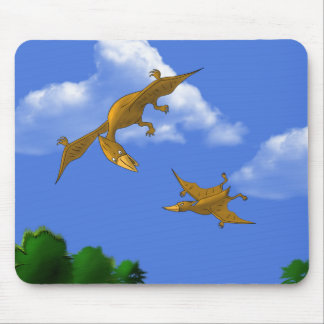 Mother Dinosaur giving flying lessons Mouse Pad
