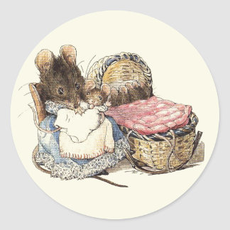 Mother Dormouse and Her Child Classic Round Sticker