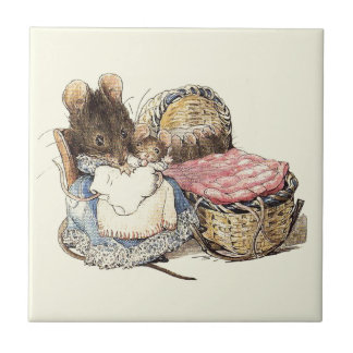 Mother Dormouse and Her Child Tile