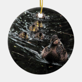 Mother Duck and Ducklings Go for a swim Ceramic Ornament