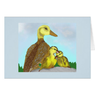Mother duck and goslings card