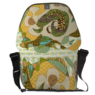 Mother Earth Abstract Illustration Animal Patterns Courier Bags