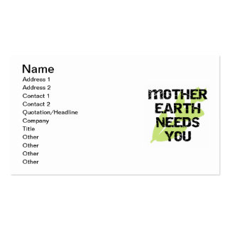 Mother Earth Needs You T-shirts and Gifts Business Card