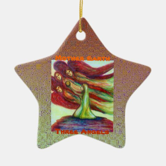 Mother Earth &Three Angels/Burning Tree Ceramic Ornament