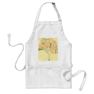 Mother Earth Word Cloud in Shape of Tree Adult Apron