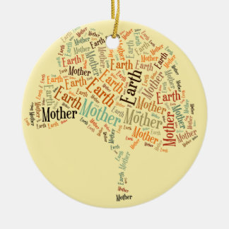 Mother Earth Word Cloud in Shape of Tree Ceramic Ornament