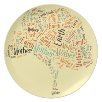 Mother Earth Word Cloud in Shape of Tree Dinner Plate