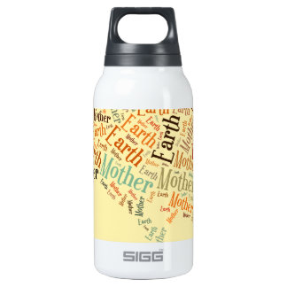 Mother Earth Word Cloud in Shape of Tree Insulated Water Bottle