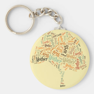 Mother Earth Word Cloud in Shape of Tree Keychain
