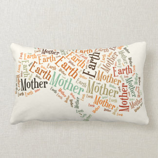 Mother Earth Word Cloud in Shape of Tree Lumbar Pillow