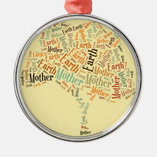 Mother Earth Word Cloud in Shape of Tree Christmas Tree Ornaments