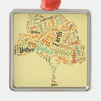 Mother Earth Word Cloud in Shape of Tree Christmas Tree Ornament