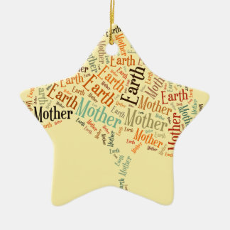 Mother Earth Word Cloud in Shape of Tree Christmas Ornament