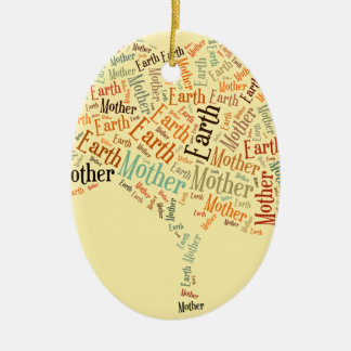 Mother Earth Word Cloud in Shape of Tree Ornament