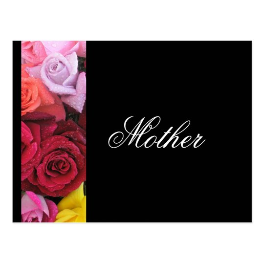 Mother Elegant Roses Greeting Postcard Black