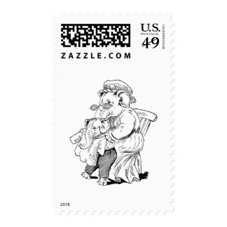 Mother Elephant Dresses Baby Stamp