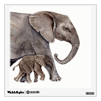 Mother Elephant with Baby Elephant Wood Print Wall Decal