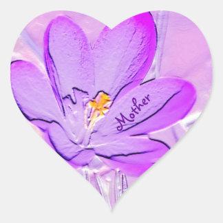 Mother Embossed Purple Crocus Heart Sticker