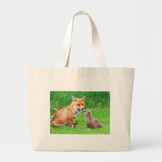 Mother fox and cub large tote bag