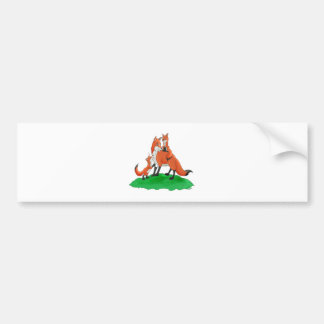 Mother Fox with Babies Gift Items Bumper Stickers